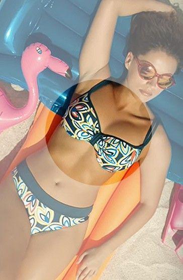 Bikini Bestform Sujetador Pétalos Copas Estampado Azul