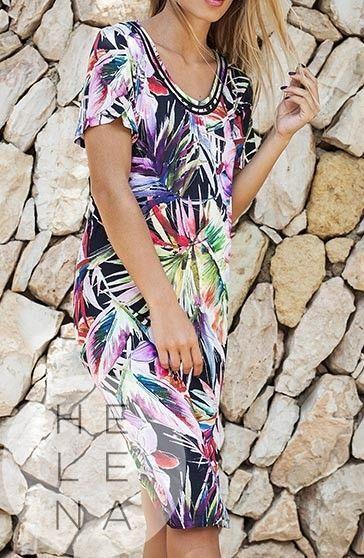 Vania Vestido Viscosa Estampado Oasis Manga Corta