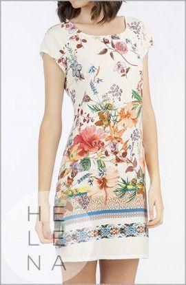 Señoretta Vestido Manga Corta Viscosa Flores