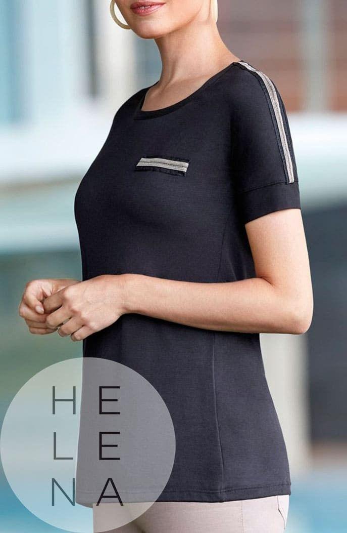 Janira Camiseta Shine Modal Negra Manga Corta