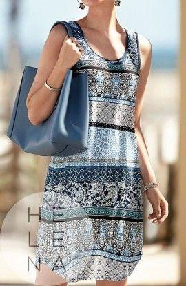 Janira Vestido Étnico Viscosa Estampado Azul
