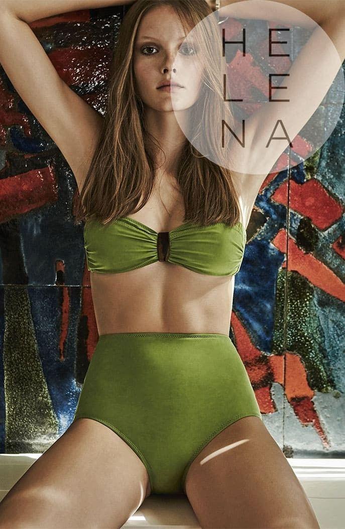 92207e105ce1 Dos Mares Bikini Caroline Liso VERDE Bandeau Sin Aros