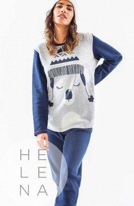 Vania Pijama Polar Azul Estampado Koala