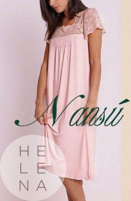 Nansú Camisón Osaka Viscosa Rosa Palo Manga Corta