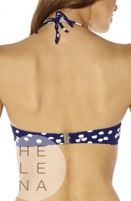 Bikini Red Point Volos Azul Estampado Bandeau Aros