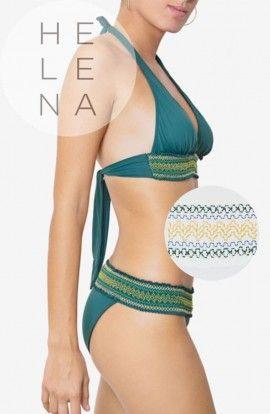 Dos Mares Bikini Gabrielle Liso BLANCO Halter Cenefa