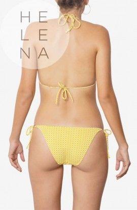 Dos Mares Bikini Sophie Trángulo Estampado Geométrico Amarillo