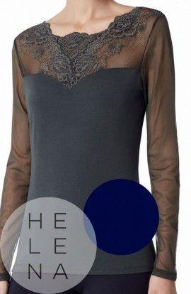 Janira Camiseta Greta Modal y Encaje AZUL Manga Larga Tul LISA