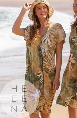Mitjans Vestido Estampado Hawaii Ocre Manga Corta