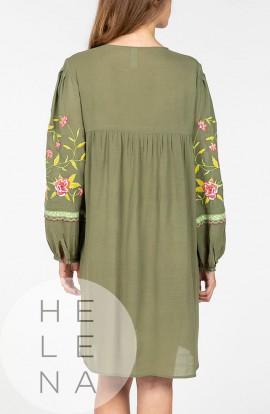 Señoretta Vestido Ibicenco Verde Bordado Flores